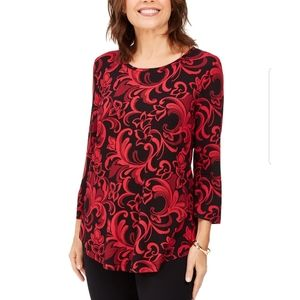 Three Quarter Sleeve Shirt, L, Florentine Scrolls